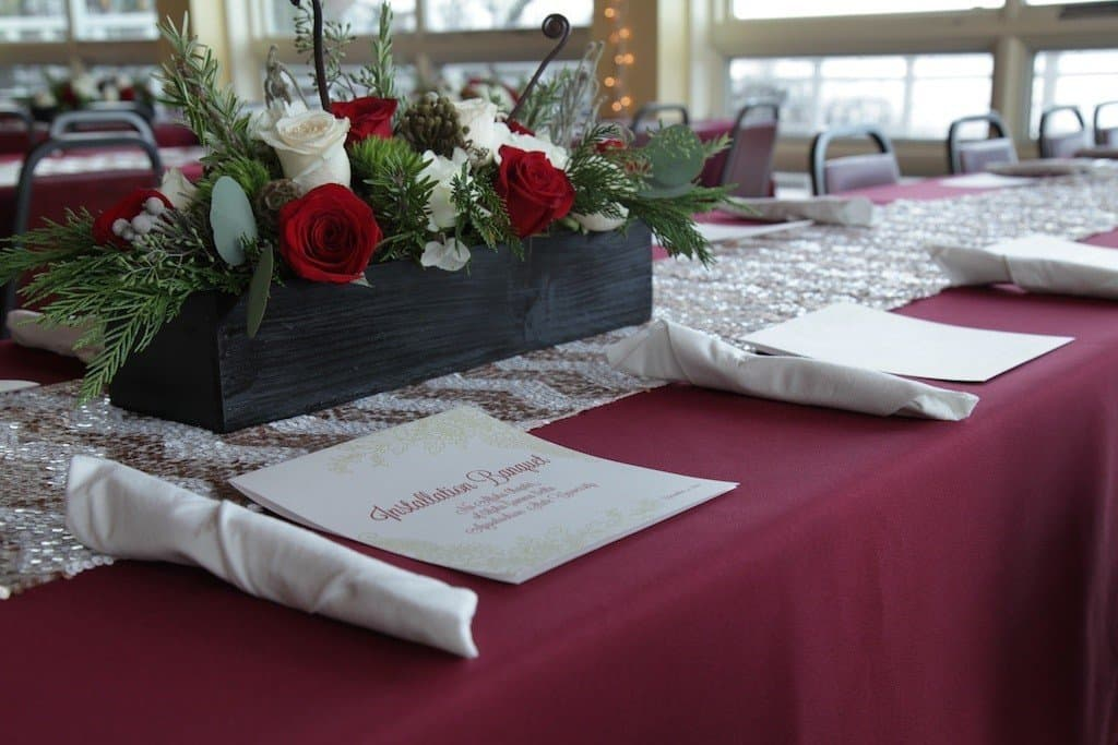 table cloth with menu