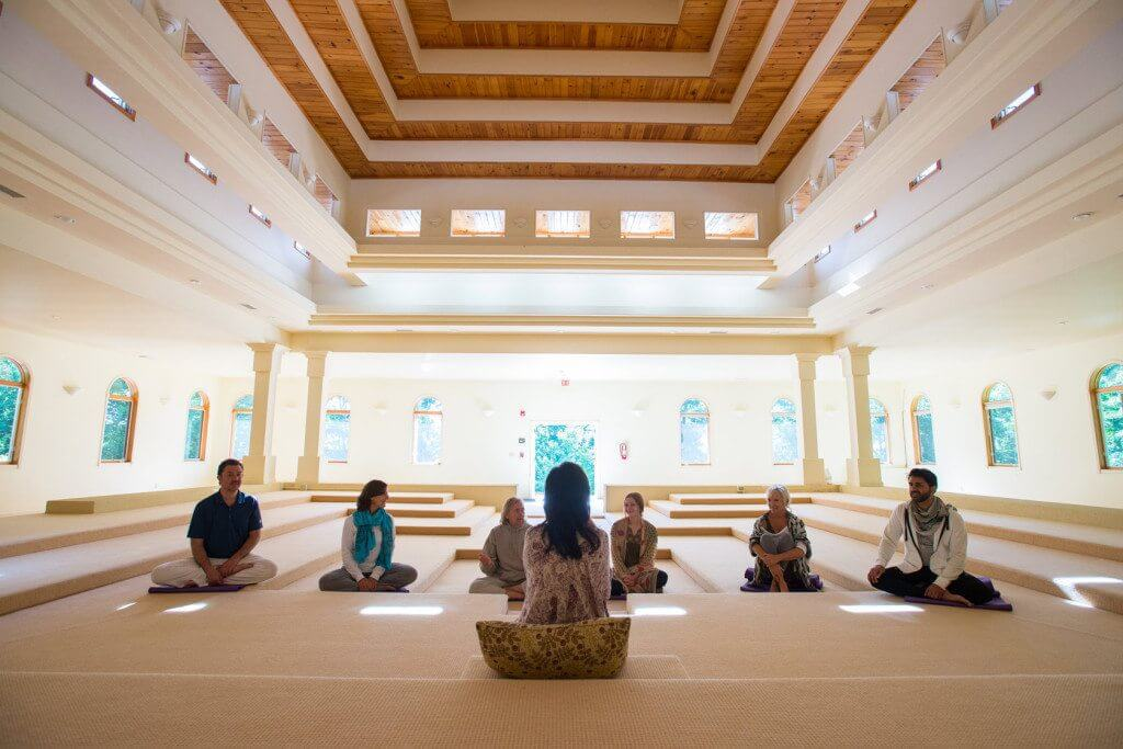 Yoga and meditation in a spiritual retreat center in North Carolina.