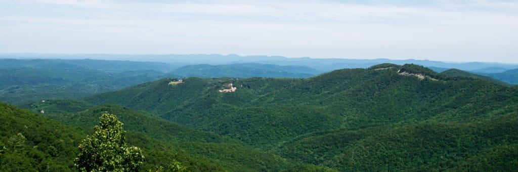 aerial view of mountains in north carolina