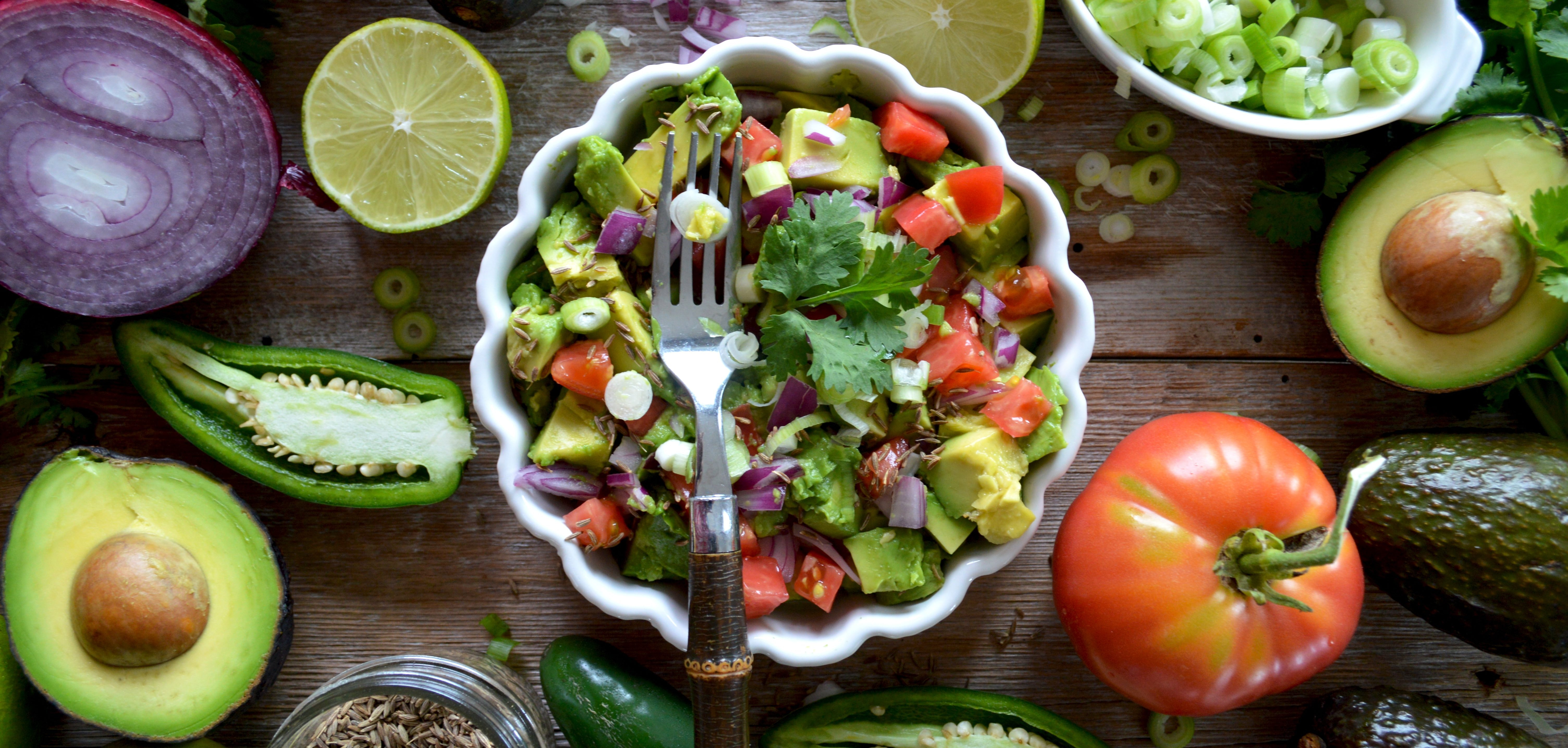beautiful vibrant vegetables and salad in a bowl