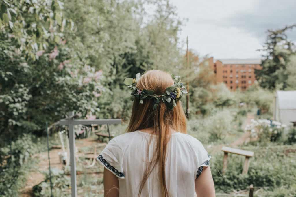 girl in floral wreath